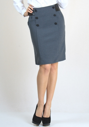 Chic Skirt Made of Soft Elestic Material with Leather Effect Belt RUMENA