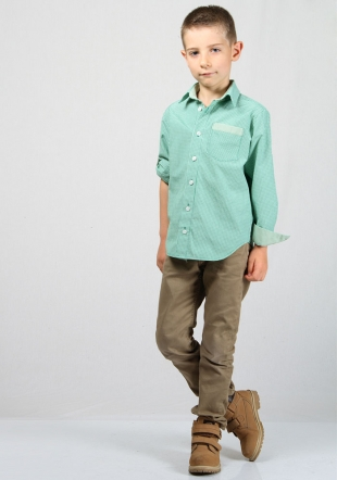 Green check boys shirt with foldable sleeves RUMENA