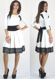 Dress with lace and lace belt in different colours RUMENA
