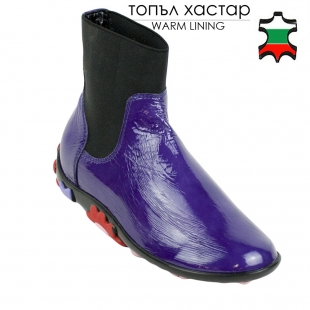 Women's purple patent leather boots with elastics and flowers on soles 32776