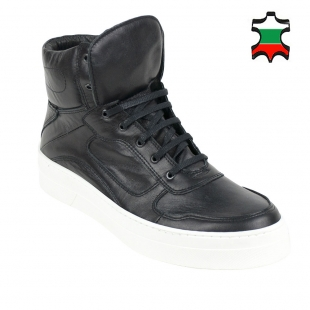 Men's high sport black leather shoes 2273