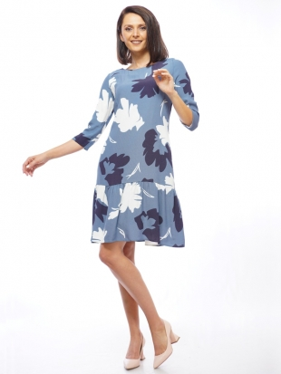 Women's asymmetrical dress in blue 72011-411