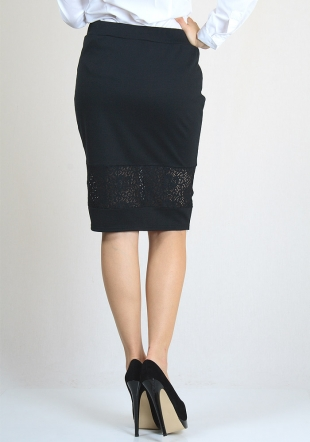 Cocktail skirt in black with lace RUMENA