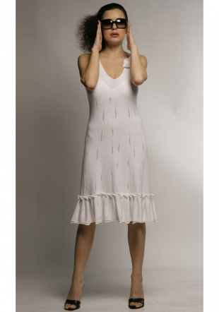 White woven ladies dress-Z-07