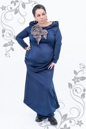 Maxi tunics set with scarf collar and skirt in blue color Ilina