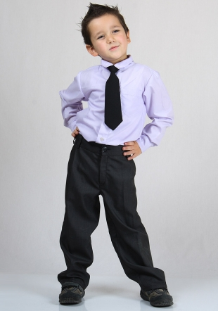 Boys suit - coat, vest, trousers and shirt in dark grey or black RUMENA
