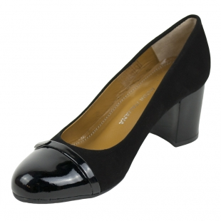 Women's black suede leather shoes with patent leather bowlers