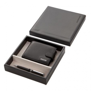 Gift set for men's wallet and ballpoint pen SILVER FLAME