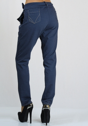 Jeans trousers with tucks and belt Rumena