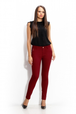 Trousers bordo with leather elements