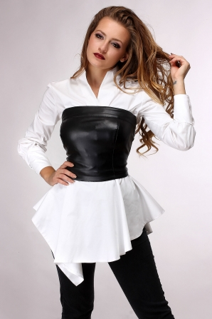 Women's white shirt and leather bustier Avangard