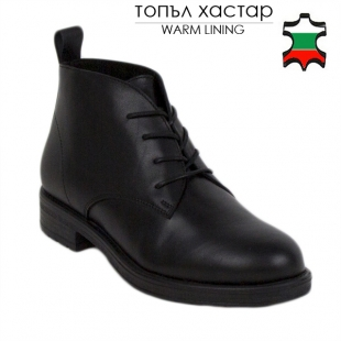 Women's black leather boots 20422