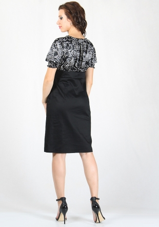 Women's dress with satin print top and black skirt RUMENA