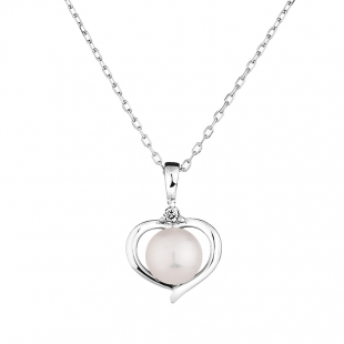 Silver heart pendant necklace with natural white pearl and zircons 1LA019NW Swan