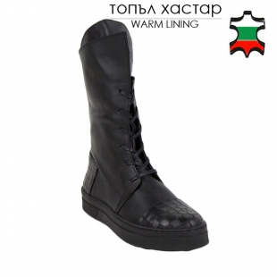 Women's black leather boots 20588