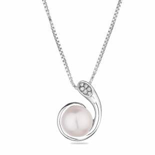 Silver necklace with natural white pearl and zircons CAA089NW Swan