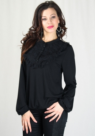 Women's black top with lace neck RUMENA