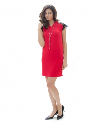 Ladies red dress with lace 71942-670
