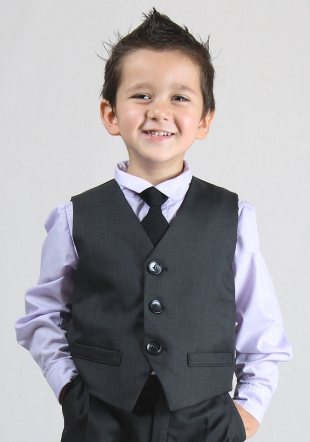 Boys occasion vest in dark grey or black RUMENA