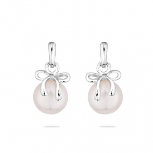 Silver earrings with natural white pearl and ribbon LA875EW Swan