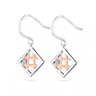 Silver earrings with gold plate square with zicon JT8455E Swan