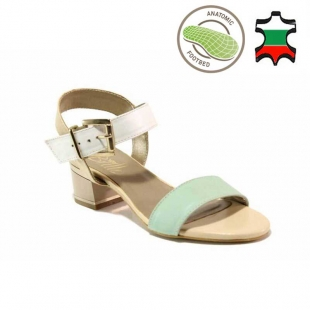 Women's anatomical genuine leather sandals in mint, beige and white on low heels 21280