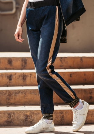 Women's sports jeans with side edging Avangard
