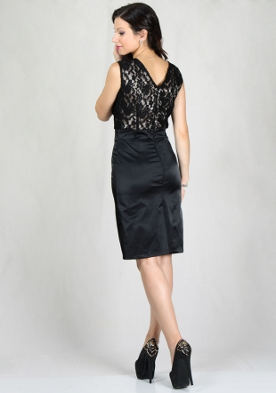 Women's evening dress with lace top with gold satin RUMENA
