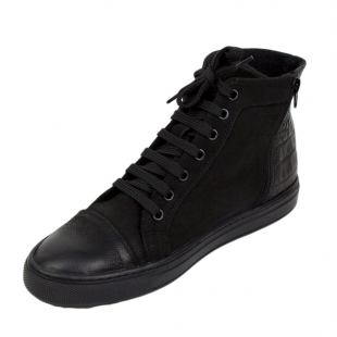 Men's black nubuck leather trainers with warm lining 20672