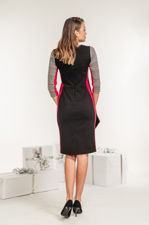Evening dress print with side red band Avangard
