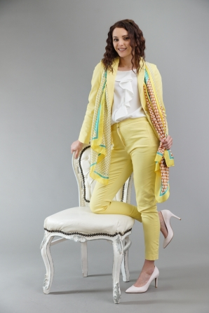 Women's yellow jacket with silver buttons 42103-300