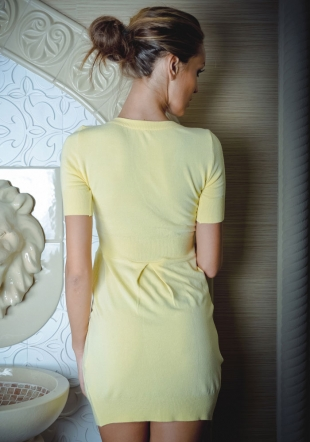 Yellow Tunic-dress Made of Fine Knited Material  with V shaped Z-2012