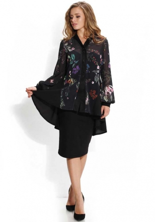 Women's black chiffon tunic with flowers print Avangard