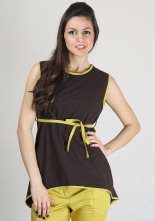 Dark brown sleeveless top with mustard trimming and belt RUMENA
