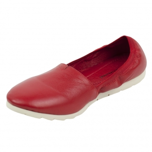 Women's red leather mocassins with elastic