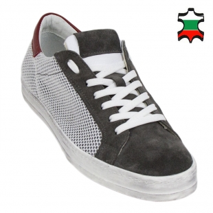 Men's grey suede leather trainers with mesh 33705