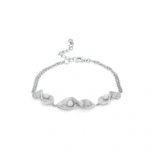 Silver bracelate with white pearls RT083BW Swan