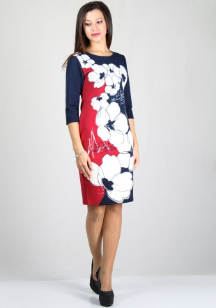 Floarl print dress with cropped sleeves RUMENA