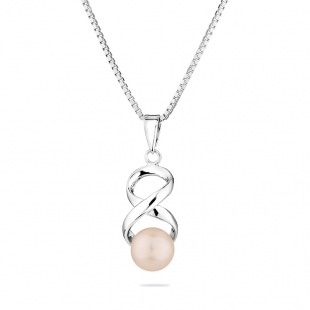 Silver necklace with natural white pearl IEP0317W Swan