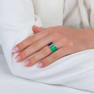 Silver ring hand drawn in green colours and zircons PJ879R Swan