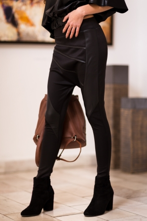 Women's deep black trousers with leather elements Avangard