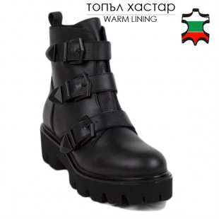 Women's black leather boots 20417