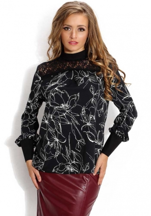 Women's flowers longsleeves top with lace neck Avangard