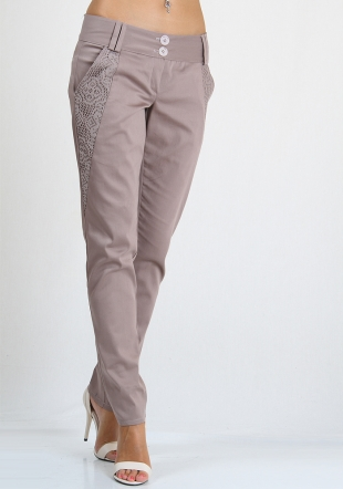 Beige long trousers with lace inserts RUMENA