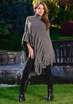 Ladies woven asymetric  grey poncho Zfashion