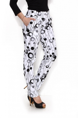 Ladies trousers with pockets in print circles Avangard