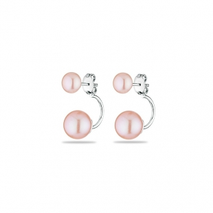 Silver Earrings with natural pink pearls CA5048E-PINK Swan