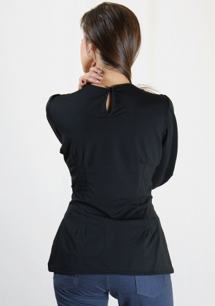 Black top with long cuffs Rumena