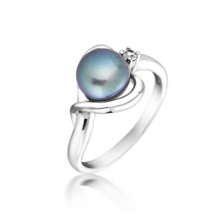 Silver ring with white freshwater pearl and zircon SR0019B Swan