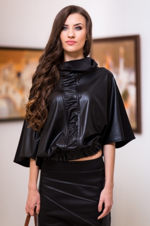 Black leather front coat Avangard